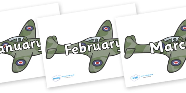Months of the Year on Planes - Months of the Year, Months poster, Months display, display, poster, frieze, Months, month, January, February, March, April, May, June, July, August, September