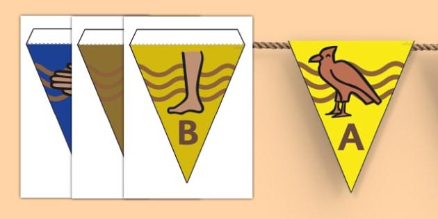 Egyptians Hieroglyphs Bunting - Egyptians, Egypt, Hieroglyphs, Bunting, Egyptian Bunting, Egypt Bunting, Hieroglyphs Bunting, Hieroglyphics