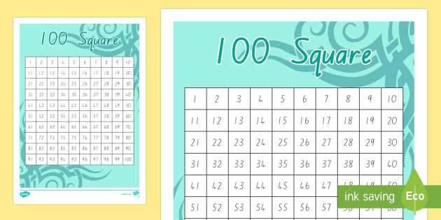 NZ Pattern 100 Number Square
