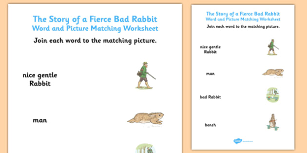 Beatrix Potter - The Story of a Fierce Bad Rabbit Word and Picture Match - beatrix potter, fierce, bad, rabbit