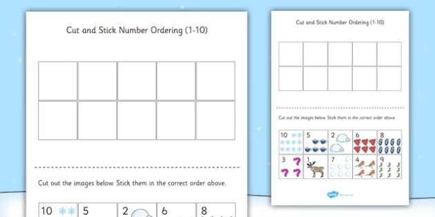 Winter Themed Cut and Stick Number Ordering Sheets - winter, cut, stick, number, ordering