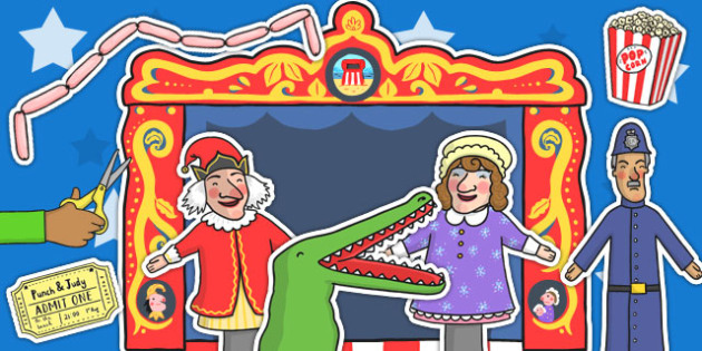 Punch and Judy Story Cut Outs - punch, judy, story, cut, outs