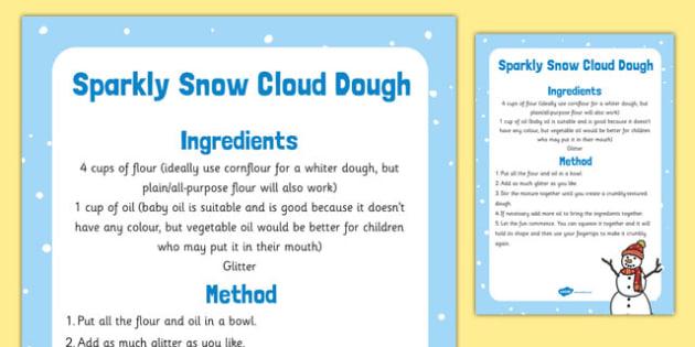 Sparkly Snow Cloud Dough Recipe - sparkly snow, cloud dough, recipe