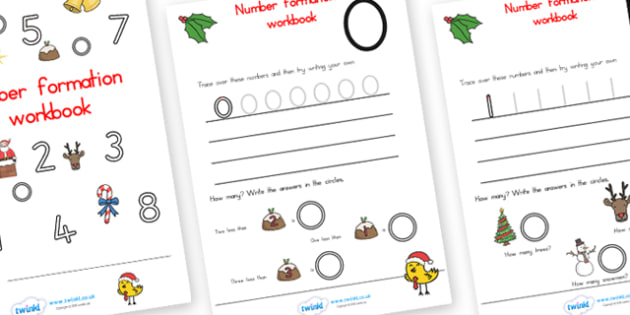 Christmas Number Formation Workbook - christmas, number formation, overwriting