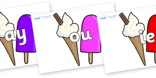 Phase 5 Phonemes on Ice Cream and Lollies - Phonemes, phoneme, Phase 5, Phase five, Foundation, Literacy, Letters and Sounds, DfES, display