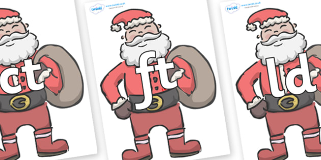 Final Letter Blends on Santas - Final Letters, final letter, letter blend, letter blends, consonant, consonants, digraph, trigraph, literacy, alphabet, letters, foundation stage literacy
