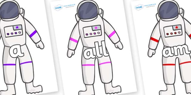 Foundation Stage 2 Keywords on Astronaut - FS2, CLL, keywords, Communication language and literacy,  Display, Key words, high frequency words, foundation stage literacy, DfES Letters and Sounds, Letters and Sounds, spelling