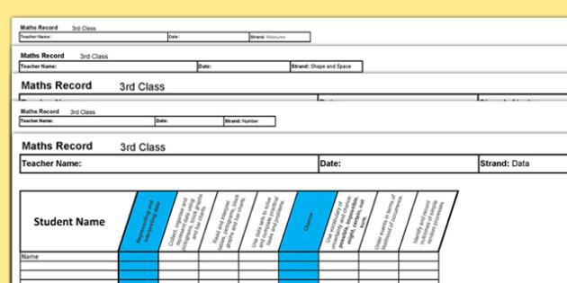 3rd Class Maths Record Spreadsheet - irish, maths, assessment, testing, 3rd class