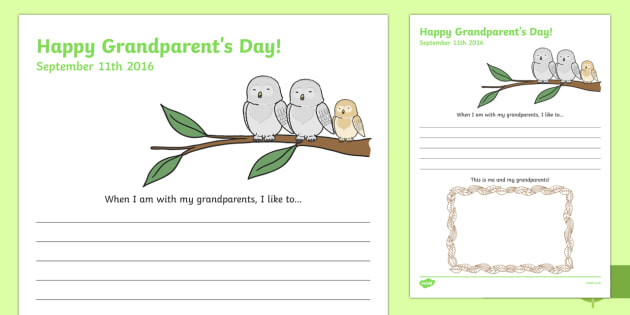 Grandparents Day Draw and Write Activity Sheet, worksheet