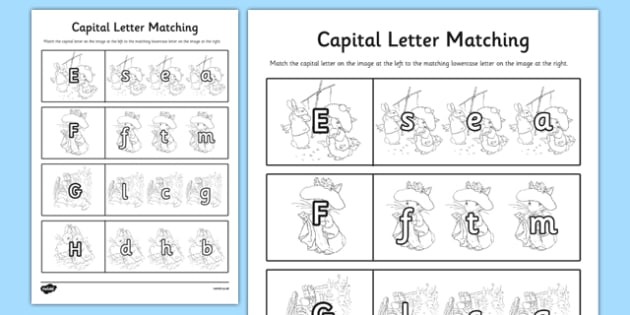 Beatrix Potter - The Tale of Benjamin Bunny Themed Capital Letter Matching Worksheet - beatrix potter, benjamin bunny