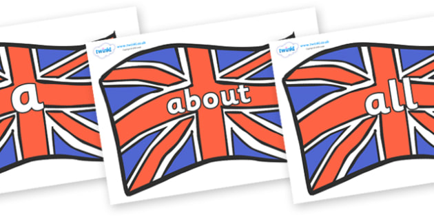 100 High Frequency Words on Union Jacks - High frequency words, hfw, DfES Letters and Sounds, Letters and Sounds, display words