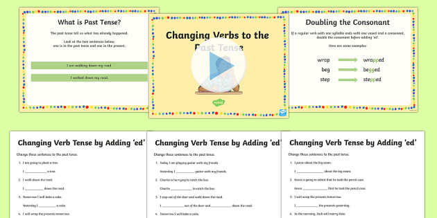 Changing Verb Tense by Adding ed SPaG Teaching PowerPoint Teaching Pack