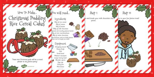 Christmas Pudding Rice Cereal Cakes Recipe Cards - recipe, cake