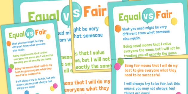 Fair Verse Equal Display Poster - fair, equal, classroom display