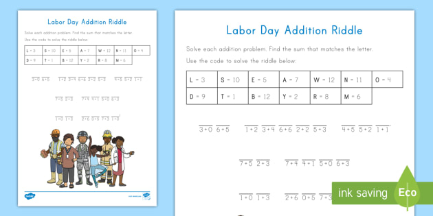 Labor Day Addition Mystery Worksheet Activity Sheet