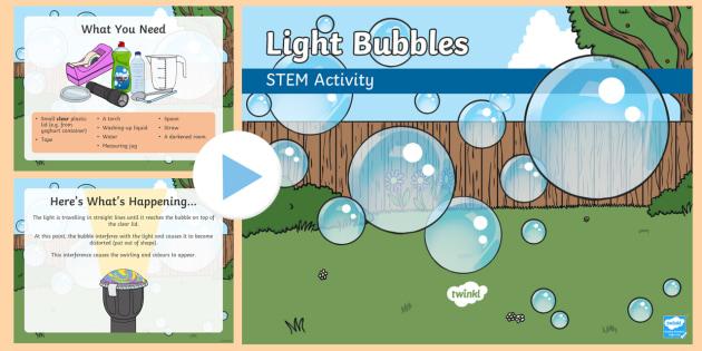 Light Bubbles STEM PowerPoint - Make it twinkle! STEM Light Energy Forces Experiment KS1 KS2 Science