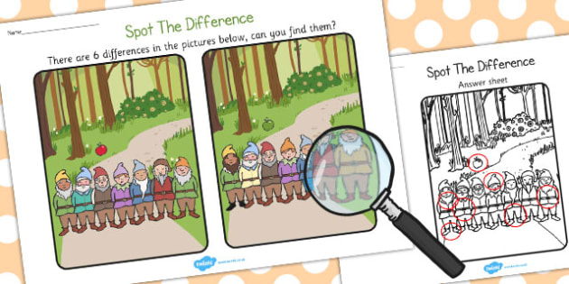 Snow White Spot the Difference Activity - activities, games, game