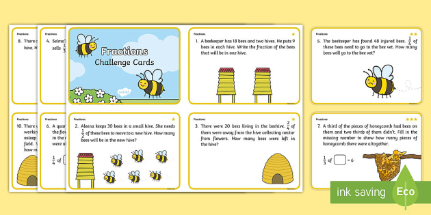 Year 2 Bee Themed Differentiated Fractions Challenge Cards - sharing, division, challenge, quarters, half, grouping, problem solving, word problems