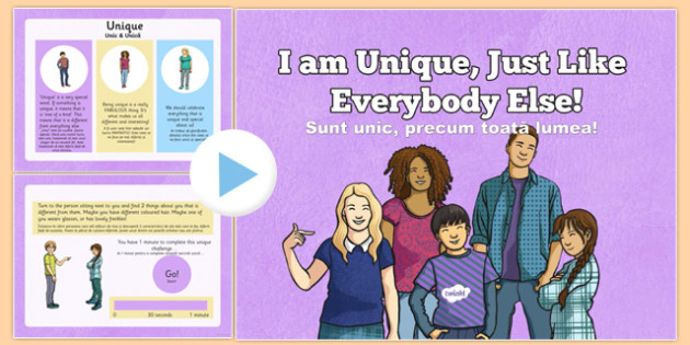 I Am Unique PowerPoint Children's Rights Romanian Translation - romanian, CfE, Health and Wellbeing, Rights Respecting Schools, Children's Rights, Needs, Wants, Unique