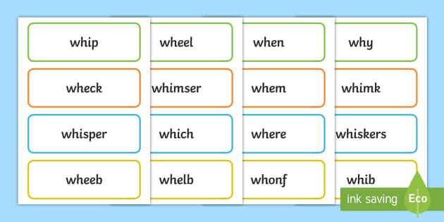 Phase 5 'wh' Flashcards Real and Nonsense Words - phase 5