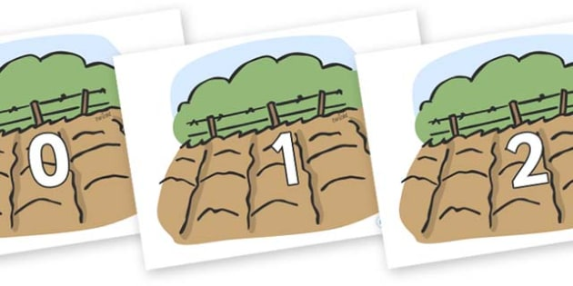 Numbers 0-50 on Farm Fields - 0-50, foundation stage numeracy, Number recognition, Number flashcards, counting, number frieze, Display numbers, number posters