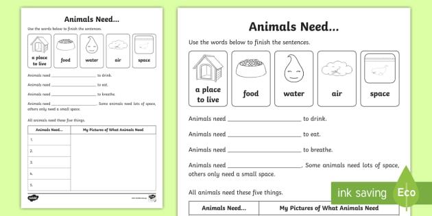 VIC Animals Need Worksheet