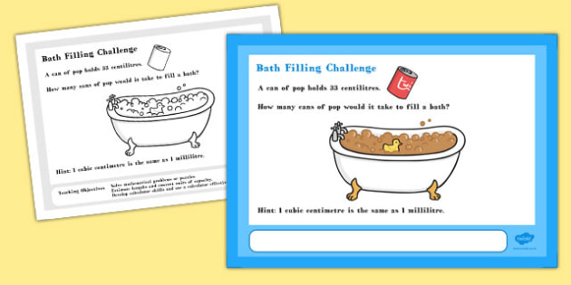 Filling Bath Maths Challenge A4 Display Posters - challenge, math