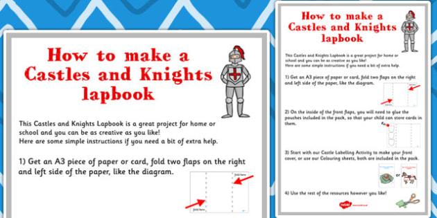 Castles and Knights Lapbook Instructions Sheet - lapbooks, sheet