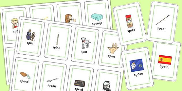 SP Blend Flash Cards - sp, blend, sound, sen, flash cards, flashcards