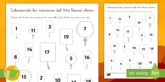 Colorear con números: Números pares e impares de Año Nuevo