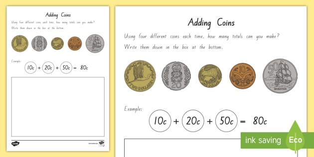 Adding New Zealand Coins Activity Sheets - New Zealand Money, adding strategies, money word problems, adding coins, nz coins