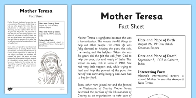 Mother Teresa Significant Individual Fact Sheet - mother teresa, significant individuals, fact sheet