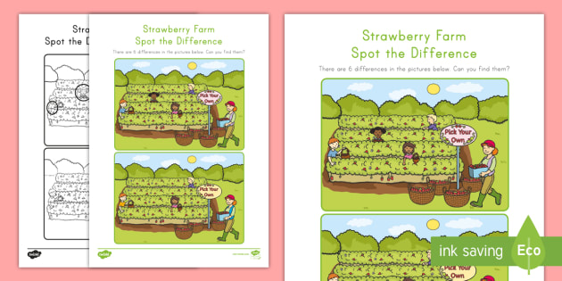 Strawberry Farm Spot the Difference Activity Sheet - strawberries, strawberry plants, strawberry farming, strawberry picking, strawberry plant life cycle