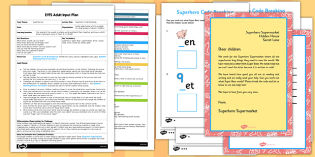 Superhero Code Breaking EYFS Adult Input Plan and Resource Pack