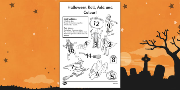 Halloween Roll and Colour Worksheet - halloween, colour, roll