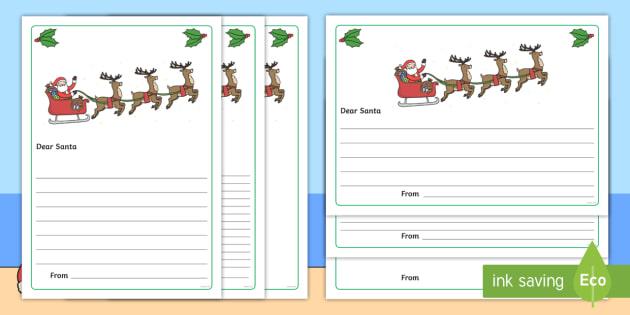 santa letter writing paper