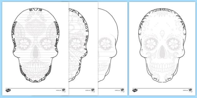 Day Of The Dead Skull Writing Frames Pack