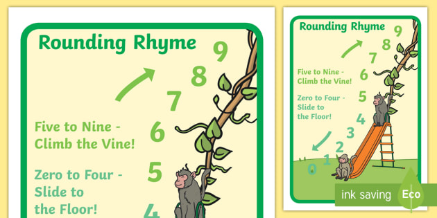 rounding numbers rhyme display poster large rounding
