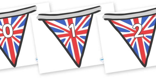 Numbers 0-100 on Bunting (British) - 0-100, foundation stage numeracy, Number recognition, Number flashcards, counting, number frieze, Display numbers, number posters