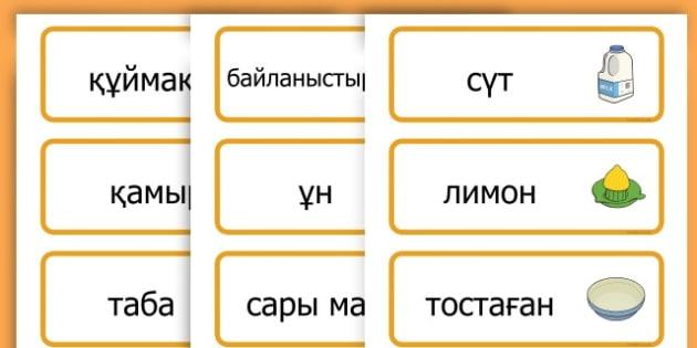 Pancake Day Recipe Word Cards - australia, pancake, day, cards - Kazakh