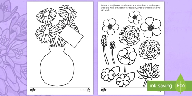 Mother's Day Flower Bouquet Colouring Activity - Mother's day, mum