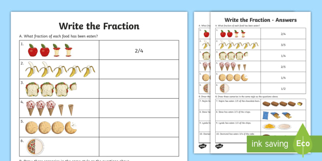 Write the Fraction Activity Sheet - Learning from home Maths Workbooks, label fractions, year3 fractions, worksheet