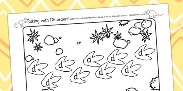 Initial d Sound Production Talking with Dinosaurs Colouring Sheet