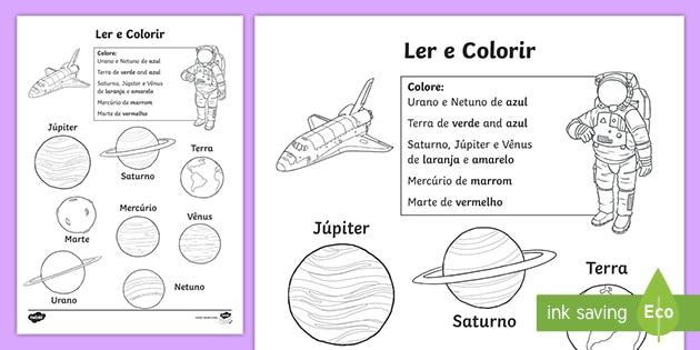 Planetas Atividades De Ler E Colorir Teacher Made