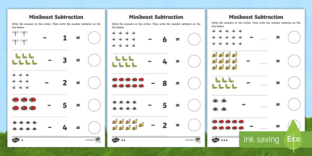 minibeast themed subtraction worksheet activity sheets. Black Bedroom Furniture Sets. Home Design Ideas