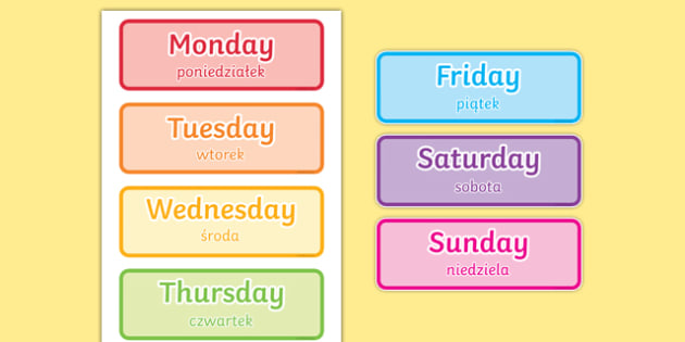 Days of the Week Word Cards Polish Translation-Polish-translation