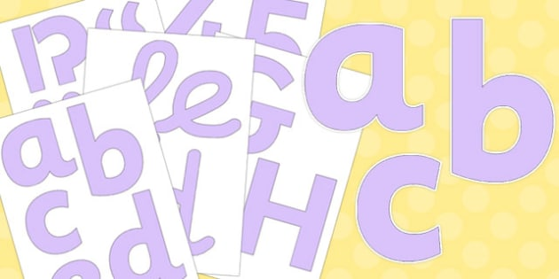 Neutral Pale Lilac Display Letters and Numbers Pack - pale lilac, neutral