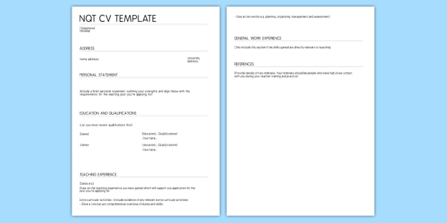 Cv Template  Nqt Cv Template Job Teacher Qualified
