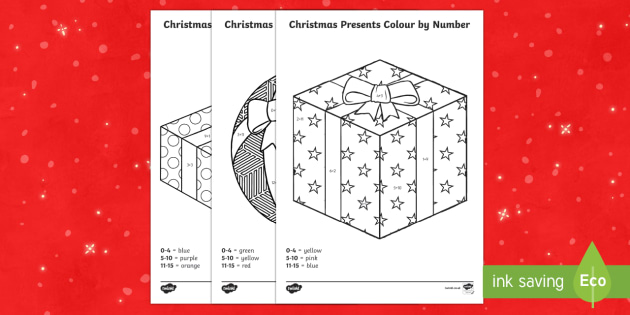 Christmas Presents Colour by Number