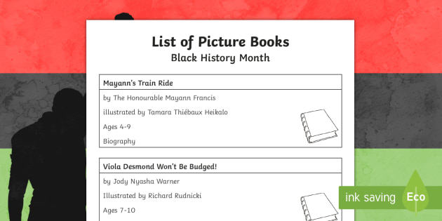 Black History Month in Canada Book List - Black History Month in Canada, heritage, identity, multicultural, civil rights.